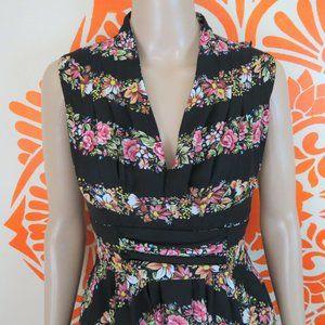 Unique Vintage Retro Black Fitted Floral Dress XS